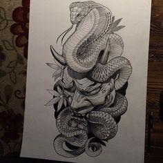 Hand is too sore to finish this tonight. Hannya Maske Tattoo, Oni Mask Tattoo, Backpiece Tattoo, Hanya Tattoo, Catrina Tattoo, Demon Tattoo, Tattoo Ink, Samurai Mask Tattoo, Japanese Tattoo Art