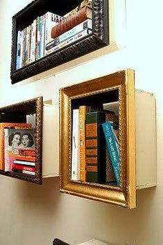 Shelves full of illusion. Just mount a picture frame to your desired shelf. From far away it will look like a picture!