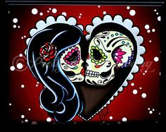 sugar skull couple | Ashes to Ashes - Day of the Dead Sugar Skull Couple Art Print - 8 x 10 ...