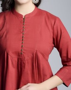 Cotton Slub Asymmetric Hem Short Kurta