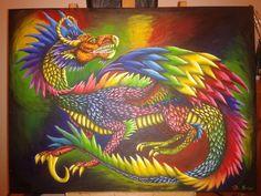 Jaz the rainbow dragon acrylic painting   2015 by Diana Barber