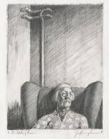 Jeffrey Smart In the waiting room I 1982 pencil on paper 20.5 x 16.5 cm