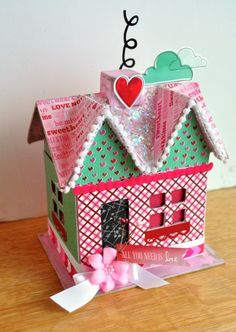 Valentine's Day craft: all you need is love decoupage house. - Mod Podge Rocks