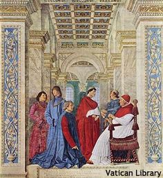 Pope Sixtus IV Founding the Vatican library by Melozzo da Forli, Vatican Museums, Rome Renaissance Kunst, Die Renaissance, Renaissance Paintings, Chateau Saint Ange, Vatican Library, Vatican City, City Library, Andrea Mantegna, 14th Century