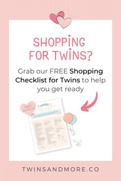 Download our free Shopping Checklist for Twins to help you set up your twin nursery, ready to welcome your new twin treasures home. Breastfeeding Twins, Expecting Twins, Newborn Twins, Twin Mom, Twin Babies, Nursery Twins, Twin Tips, Raising Twins, How To Have Twins