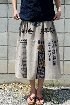 Pretty skirts and pants made of vintage hand-dyed Japanese tenugui fabric by independent designers SASAKI-JIRUSHI.