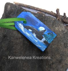 Painted Deluxe Gift Tag Orca at midnight painting whale art Gunilla Wachtel, $10.00
