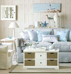 Turn your Living Room into a Bright and Happy Beach Oasis with these Soft Blue & White Beach Decor Ideas: http://beachblissliving.com/beach-decor-design-ideas-living-rooms/