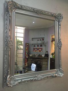 Espejo antiguo restaurado patina en plata Mirror Photo Frames, Wall Mirror, Old Frames, Baroque, Metal Working, Oversized Mirror, House, Furniture, Bathroom