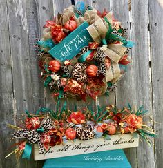 Happy Fall Y'all Leopard by Holiday Baubles Thanksgiving Wreaths, Deco Mesh Wreaths, Thanksgiving Decorations, Holiday Wreaths, Fall Decorations, Fall Deco Mesh, Fall Crafts, Holiday Crafts, Wreath Crafts