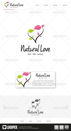 Natural Love Logo Template — Photoshop PSD #marriage #romance • Available here → https://graphicriver.net/item/natural-love-logo-template/7864174?ref=pxcr