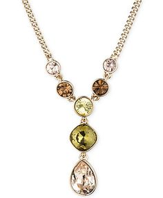Givenchy Gold-Plated Green Multi Y Necklace