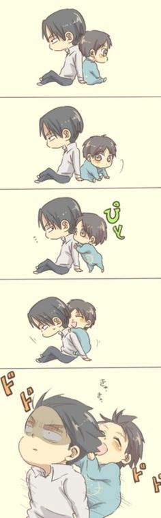Oml levi and baby eren is almost the same size.. I shouldn't mention this