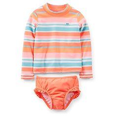 Little Girls' 2 Piece Striped Swim Rashguard Set (4K, Orange)