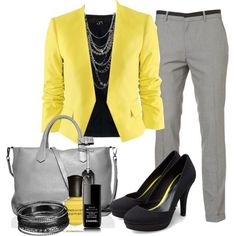 Work outfits colored blazer, grey pants, chain necklace - Spring Check out Mary Kay's Spring Collection to match this look. Summer Work Outfits, Office Outfits, Cool Outfits, Casual Outfits, Office Attire, Outfits 2014, Dinner Outfits, Office Wear, Jean Outfits