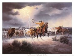 Lightnin' in the Sky by Jack Sorenson art print | Western decor