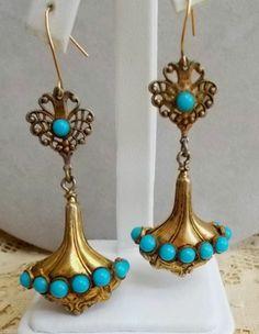 Vintage Victorian Edwardian Hollow Urn Shape Earrings Turquoise Pierced #Jewelry #Deal #Fashion