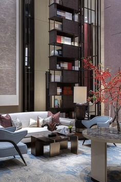 Modern Design and Living Lobby Interior, Luxury Interior, Modern Interior Design, Interior Architecture, Hotel Lounge, Lobby Lounge, Hotel Room Design, Decoration Inspiration, Hotel Interiors