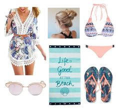 """""""Beach, please!"""" by laura-feitozaa ❤ liked on Polyvore featuring New Look, River Island, Lexington and Le Specs"""