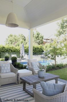 Outdoor Al Fresco entertaining area in a Hamptons style home. Gallerie B Interiors. Outdoor Living Rooms, Outdoor Spaces, Outdoor Decor, Hot Tub Backyard, Backyard Patio, Melbourne, Hamptons Style Homes, Fresco, Outdoor Entertaining