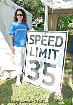 A behemoth speed limit sign snagged for the hubby's mancave on @Kelly Eclectically Vintage's Hometalk Thrift Outing.