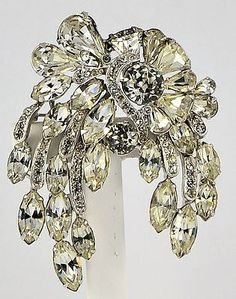 1161f582c28 Estate Costume Eisenberg Rhinestone Brooch Pin Silver Tone Clean Gold  Jewelry, Black Gold Jewelry,