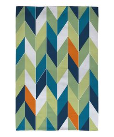 Take a look at this Blue & Orange Chevron Rug by DENY Designs on #zulily today!
