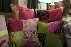 Plum Purple, Magenta and Bottle Green decorative pillows from Jane Hall Design.