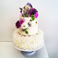 """This wedding cake for the loveliest couple ❤ and their choice of Lilac  """