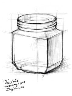 Как нарисовать банку карандашом поэтапно 5