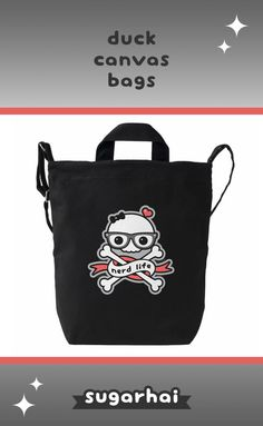 Cute canvas bags with nerd skull and crossbones.