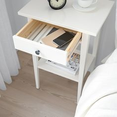 IKEA - HEMNES, Nightstand, white stain, Smooth running drawer with pull-out stop. Coordinates with other furniture in the HEMNES series. Ikea Hemnes Nightstand, Small Nightstand, Affordable Furniture, Unique Furniture, Home Furniture, Table Haute, Painted Drawers, White Side Tables, White Stain