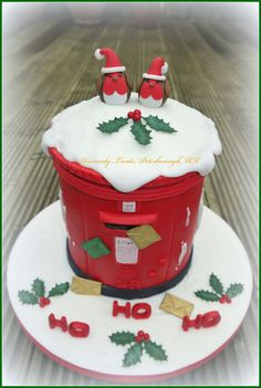 This is a cake Ive made to donate to my childrens school for their Christmas Bazaar people will be guessing the weight of the cake to try and win it. Its not an original idea but Ive done my own version thanks for looking :-D x christmas cake Christmas Cake Designs, Christmas Cake Decorations, Christmas Cupcakes, Holiday Cakes, Xmas Cakes, Noel Christmas, Christmas Goodies, Christmas Treats, Xmas Food