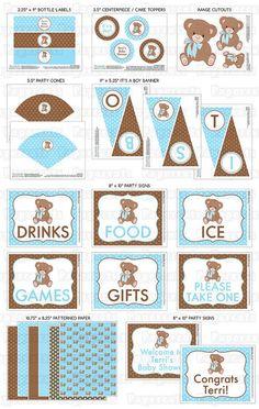 Tema DIY imprimible azul y marrón oso de por PapercutsPartyShop