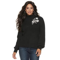 147d99ec1bb Women s Jennifer Lopez Floral-Embroidered Ribbed Mockneck Sweater