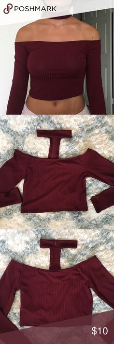 Long-Sleeved Choker Off-the-Shoulder Top Super cute choker crop top in a rich burgundy color. Worn once, perfect condition. Forever 21 Tops