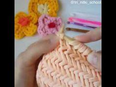 Penye ipten yuvarlak sepet yapımı-DIY - YouTube