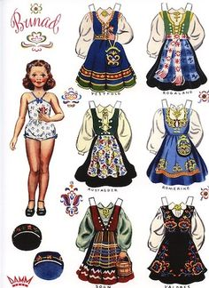 "#5512 Norwegian Paper doll with costumes from Vestfold, Rogaland, Sogn, Romerike, Austagder, and Valdres. 9""x12"" printed on cardstock"