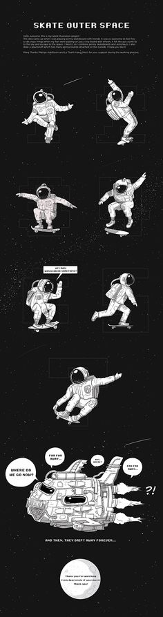 Imagine project about astronauts & penny skateboards.