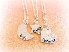 Best Friends Forever Necklace Set - Moon Star and Heart Necklaces - 3 BFF Necklace by Everything Pretty
