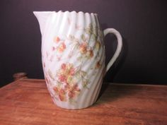 Pretty Vintage Creamer Small Pitcher Floral Painted Porcelain Ribbed Fluted by NewOxfordVintage on Etsy
