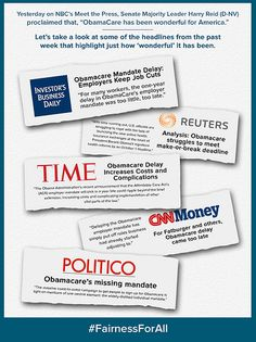 """Yesterday on NBC's Meet the Press, Senate Majority Leader Harry Reid (D-NV) said, """"ObamaCare has been wonderful for America."""" The headlines tell a different story."""