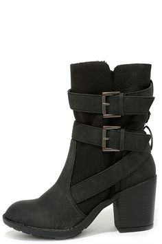Report Yurick Black High Heel Fold-Over Boots