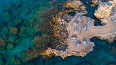 Sun Umbrella and Chairs on Beach At Mediterranean Sea, Drone Top Sun Umbrella, Mediterranean Sea, Greece Travel, Rhodes, City Photo, Chairs, Beach, Top, The Beach