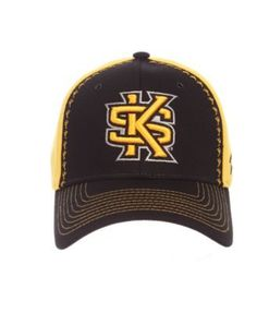 Zephyr Kennesaw State Owls Pattern Pipe Stretch Cap - Black/Yellow M/L