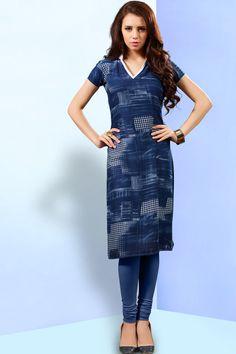 Navy blue simple printed reyon casual wear kurti 371