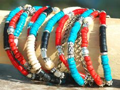 Custom Turquoise, Red Coral, Black and Silver Chain Wrap Bracelet by XO Gallery Jewelry