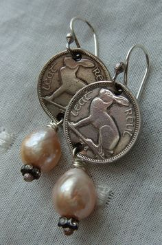 Vintage Coin Earrings Vintage Coins Irish Rabbit by CobwebPalace