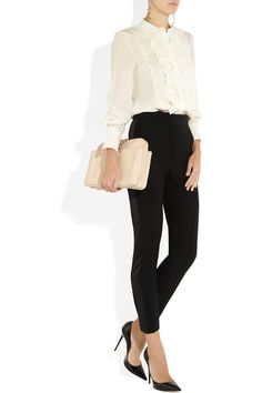 Classic combo: white blouse, black trousers, black pointy pumps