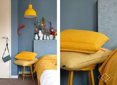 Denim Drift with yellow Denim Drift Bedroom, Denim Drift Living Room, Home Bedroom, Bedroom Decor, Master Bedroom, Yellow Interior, College Room, Spare Room, Home Staging